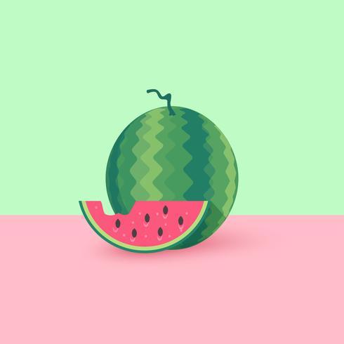 Watermeloen en plak platte vectorillustratie vector