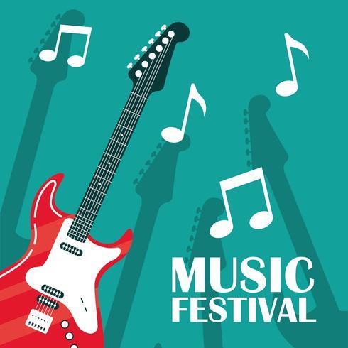 elektrische gitaar instrument poster vector