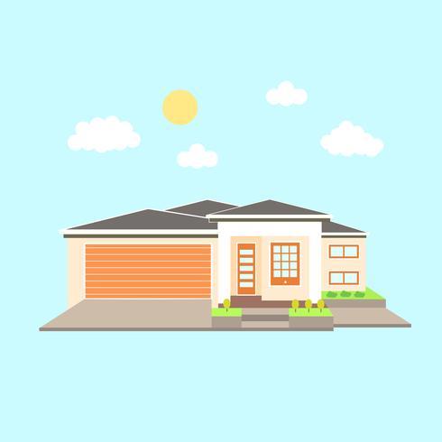 Moderne luxe moderne villa met garage vector