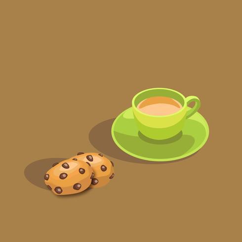 Snacktijd met een kop thee en chocoladeschilferkoekjes. vector