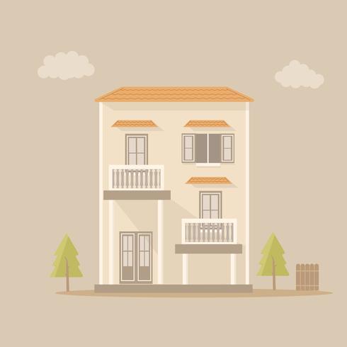 Modern motel met balkons geïsoleerd op een bruine achtergrond vector