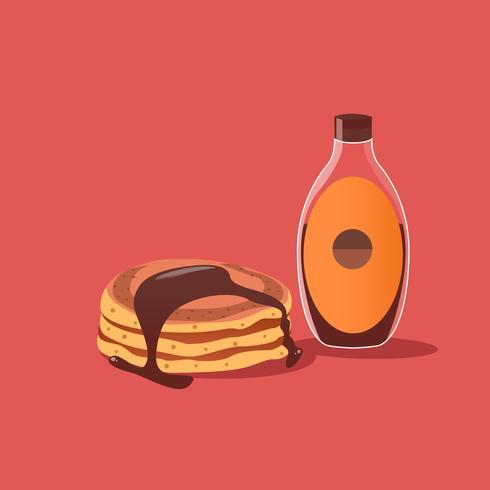 Stapel pannenkoeken met chocoladesiroop vector