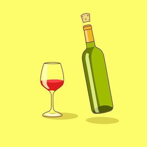 Rode wijnfles met een glas wijn vector