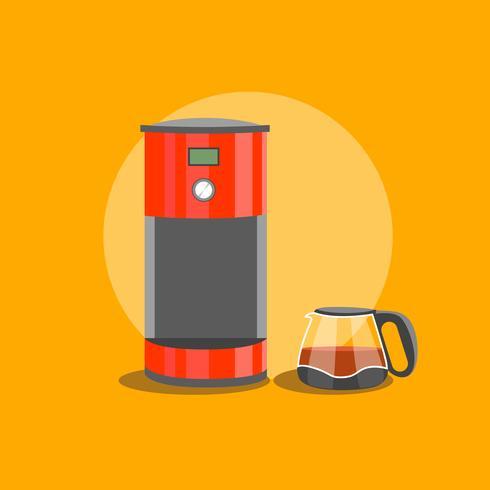 Rode koffiemachine en koffieketel vector