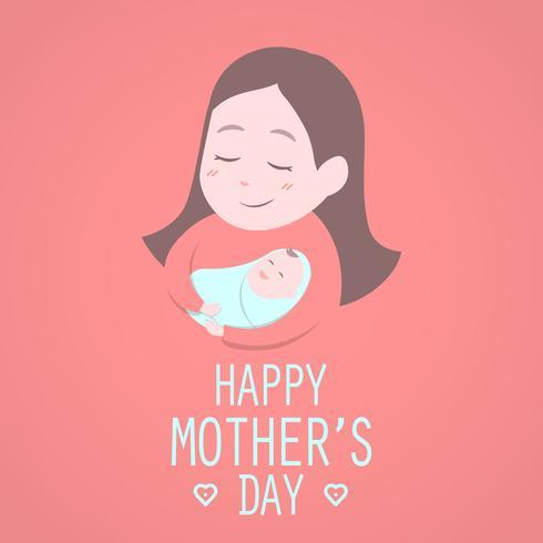 Moeder die schattige baby houdt. Gelukkige Moederdag. vector