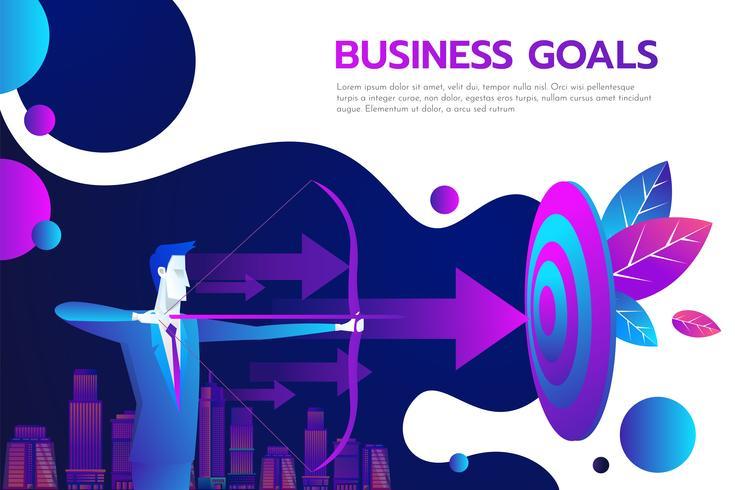Succesvolle zakenman houden pijl in de hand - prestatie doel. vector