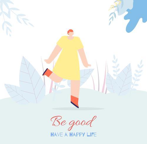 Motivatie Vrouw Kaart Tekst Have Happy Life Good vector
