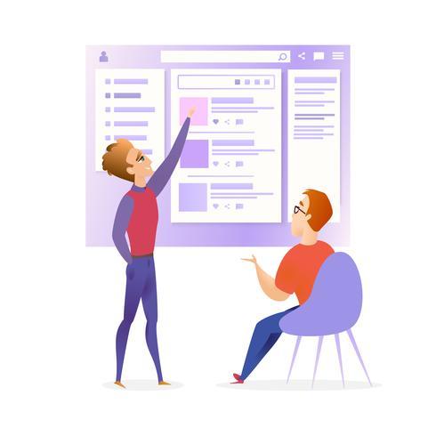 website ui ontwerper ontwikkelaar vergadering banner vector
