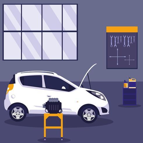 witte auto in onderhoudsworkshop vector