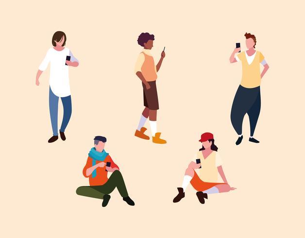 groep jonge tiener met behulp van smartphones-apparaten vector