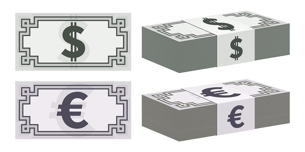 Dollar en euro bankbiljet pictogrammen vector