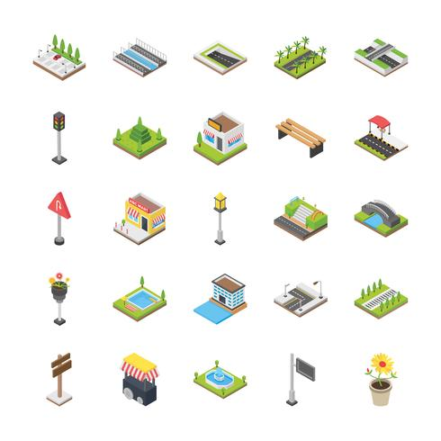 Stedelijke elementen Icon Set vector