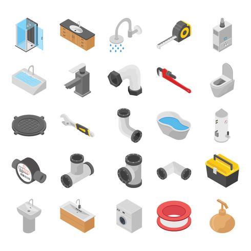 Loodgieter, toilet en bad douche isometrische pictogrammen vector
