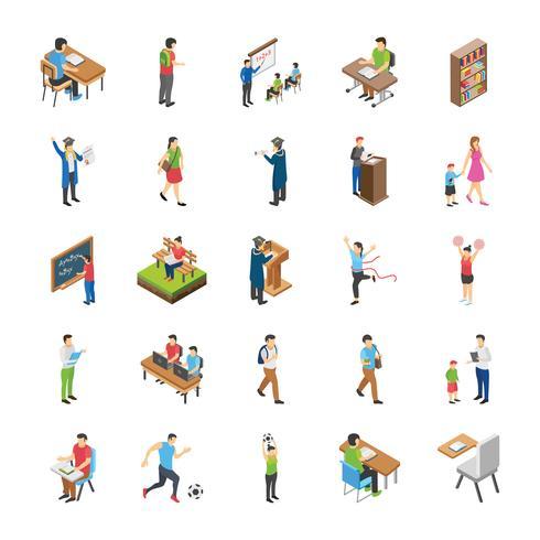 Hogeschool en universiteitsstudenten vlakke pictogrammen vector