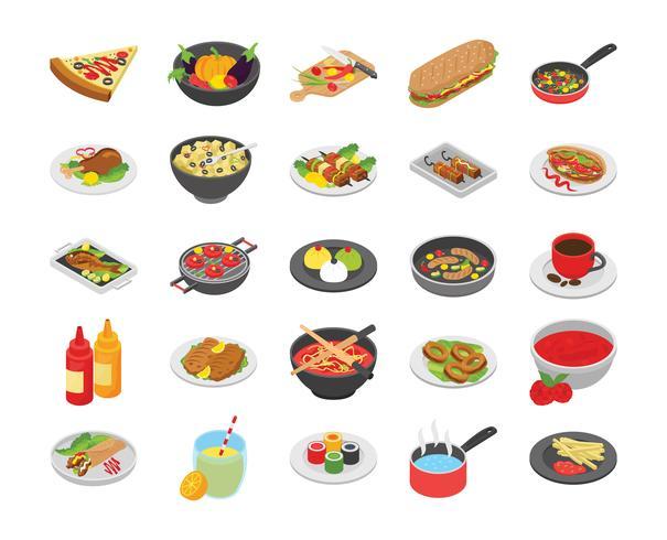 Koken en eten plat pictogrammen vector