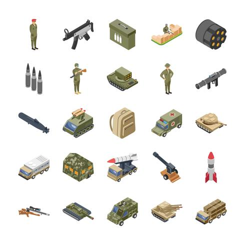 Militaire, speciale strijdkrachten en leger Icons Set vector