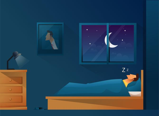 Man slapen in bed vector