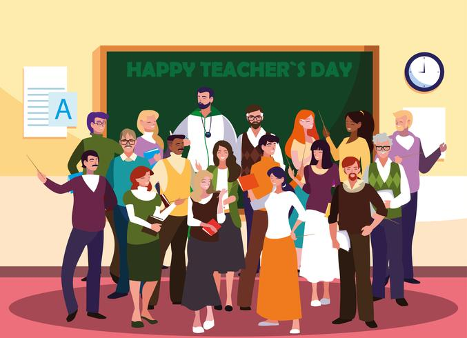 gelukkige lerarendag met groep leraren vector