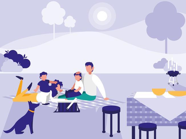 schattig gezin in park met picknick vector