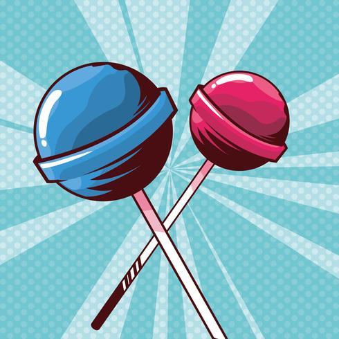lolly snoepjes in pop-art stijl vector