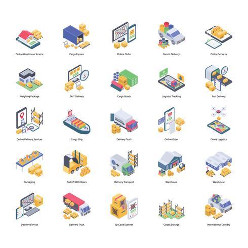 Logistieke levering Icons Set vector