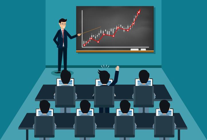 opleiding zakenman geeft een presentatie groeiende zakelijke financiën op blackboard vector