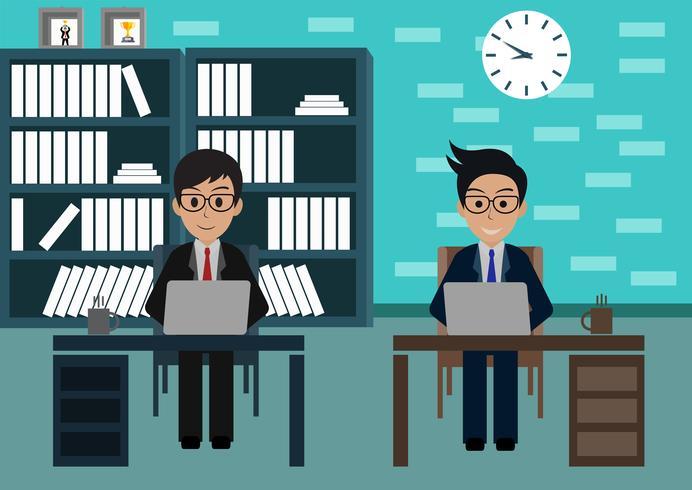 De zakenman in arbeider in bureau zit bij de bureaus met laptop vector