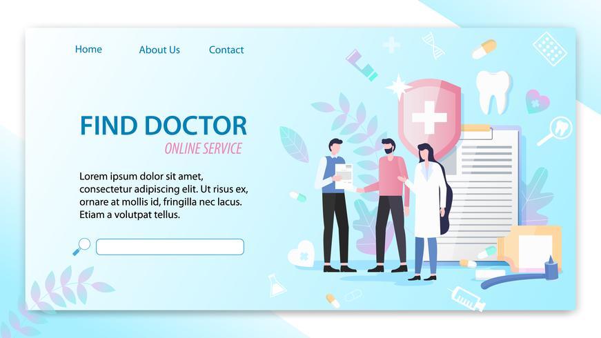 Zoek Doctor Online Service vector