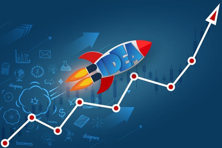 Space shuttle lancering naar de hemel op pijl grafiek lijn wit vector