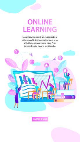 Online leren verticale banner vector