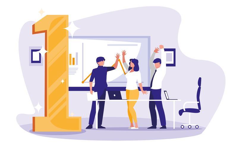 mensen uit het bedrijfsleven vieren op de werkplek met nummer één vector