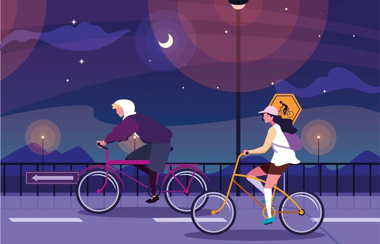 koppel paardrijden fiets in nachtlandschap vector