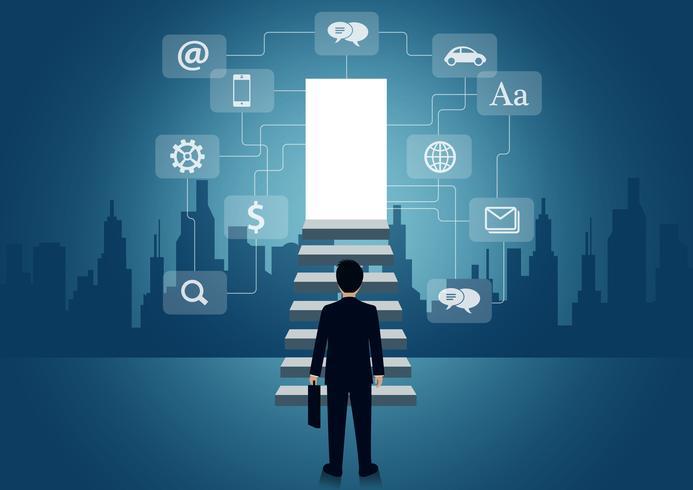 Ondernemers lopen de trap naar succes op vector