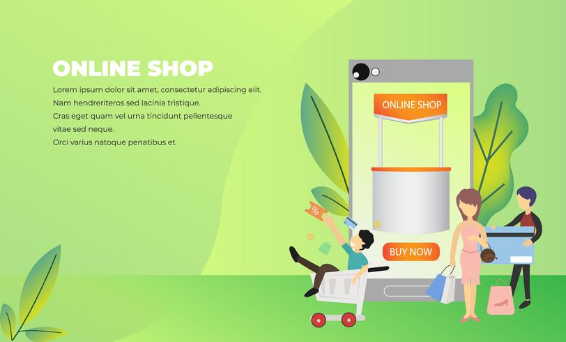 Online winkelen e-commerce webpagina vector