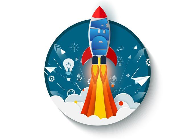 denk buiten de doos. space shuttle lancering naar de hemel. vector