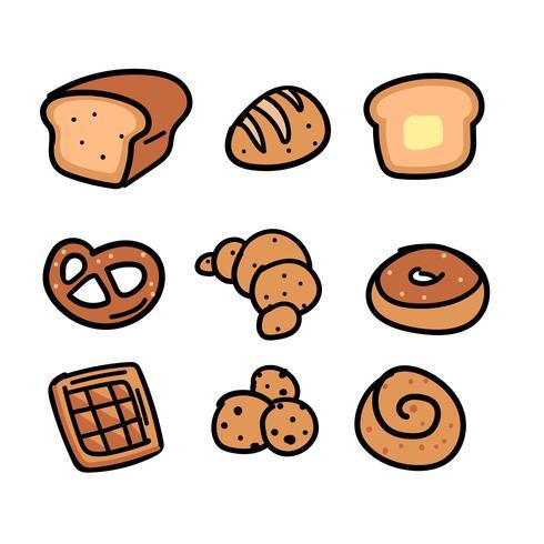 Handgetekende bakkerij doodle set vector