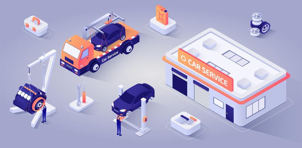 Autoservicebouw met mechanica op het werk vector