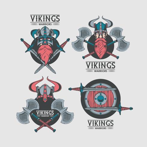 Vikingen krijgers bedrukte t-shirt sjablonen vector