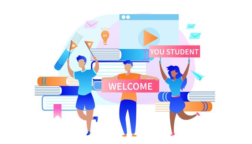 Jongens en meisjes ontmoeten nieuwkomers aan de universiteit vector