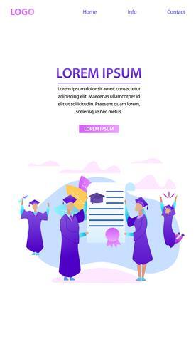 Groep uiteenlopende afstuderen studenten met diploma vector