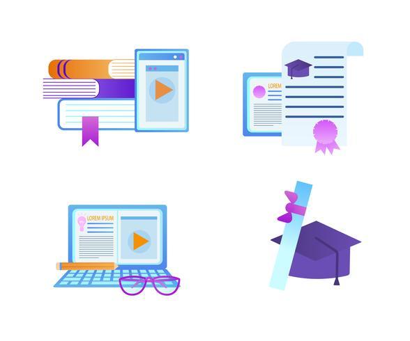 Educatieve Icon Set geïsoleerd op een witte achtergrond vector