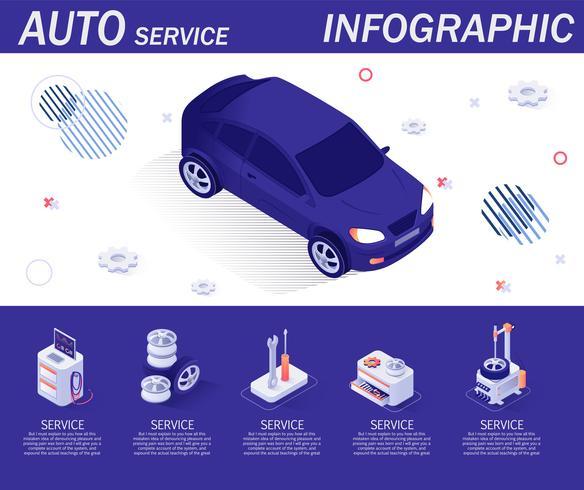 Auto Service Infographic met isometrische pictogrammen vector