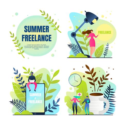Stel zomer freelancen rust & werk in vector