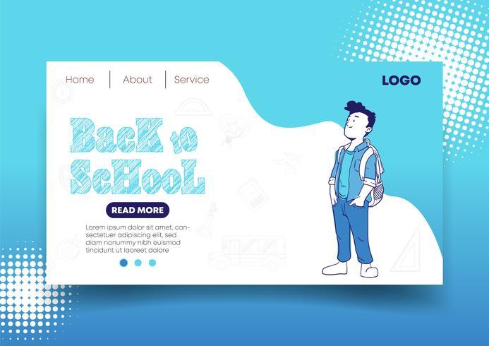 Terug naar school webdesign en bestemmingspagina vector