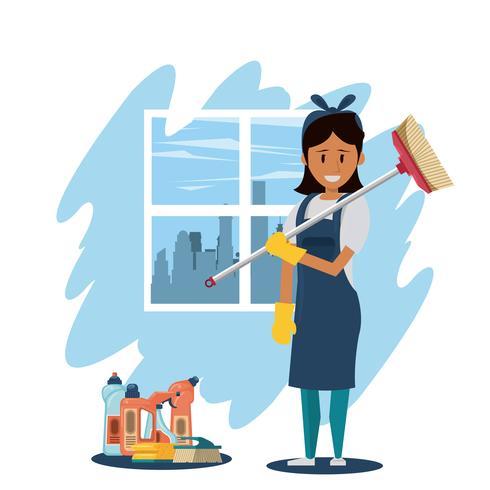 Reinigingsmachine met schoonmaakmiddelen huishoudelijke dienst vrouw vector