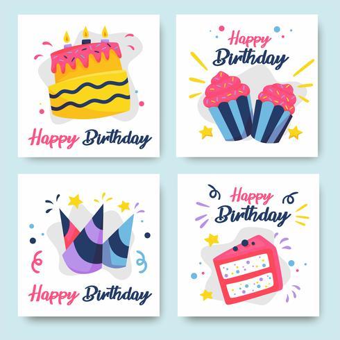 Verzameling kleurrijke verjaardagskaarten vector