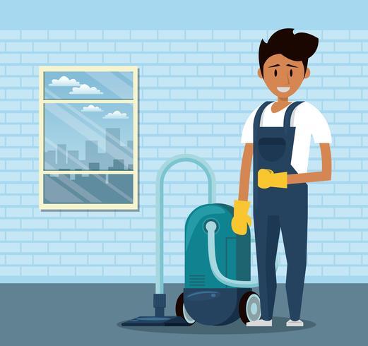 Reinigingsmachine met reinigingsproducten huishoudelijke service man vector