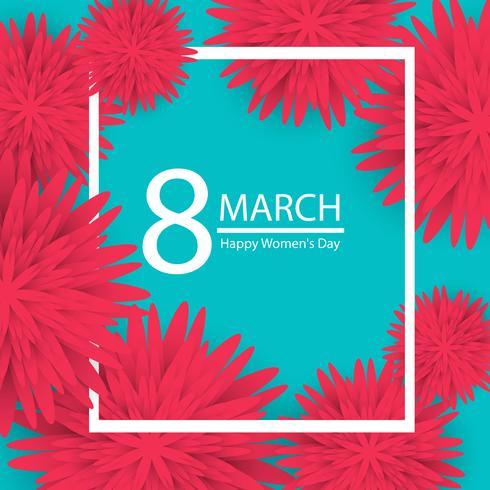 8 maart. roze bloemen wenskaart. Happy Women's Day. vector
