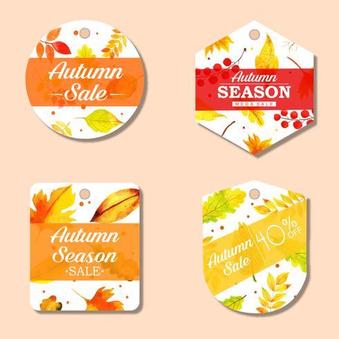 Mooie aquarel herfst labels-collectie vector