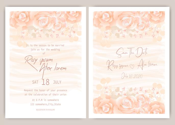 Oranje bruiloft uitnodiging vector